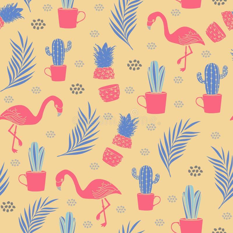 Wektorowy Tropikalny flaminga wzór z egzot plaży lata tematu ilustracją ilustracja wektor