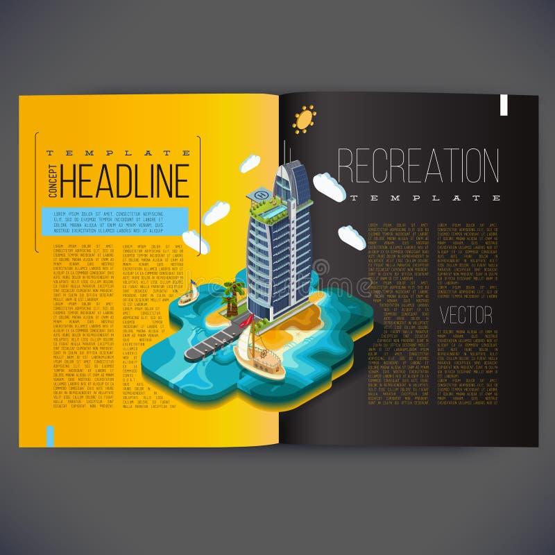 Wektorowy tropikalny szablonu projekt dla stron magazyn royalty ilustracja