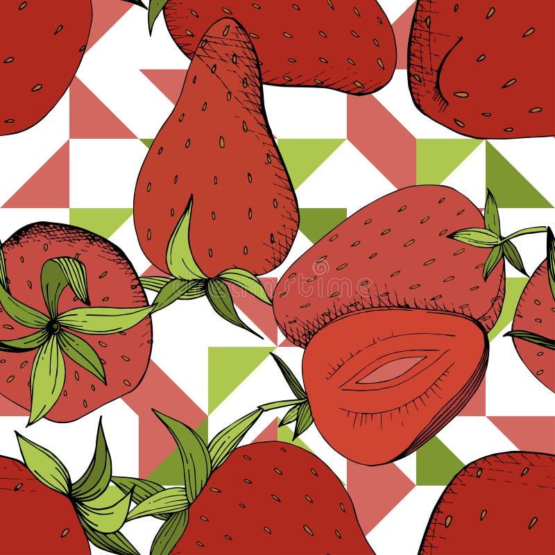 Wektorowy Truskawkowy ?wie?ej owoc zdrowy jedzenie Rewolucjonistka i ziele? graweruj?ca atrament sztuka Bezszwowy t?o wz?r royalty ilustracja