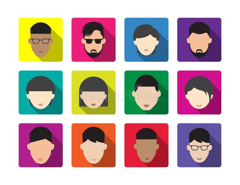 Wektorowy twarzy avatar kobiety i mężczyzny ikony set royalty ilustracja