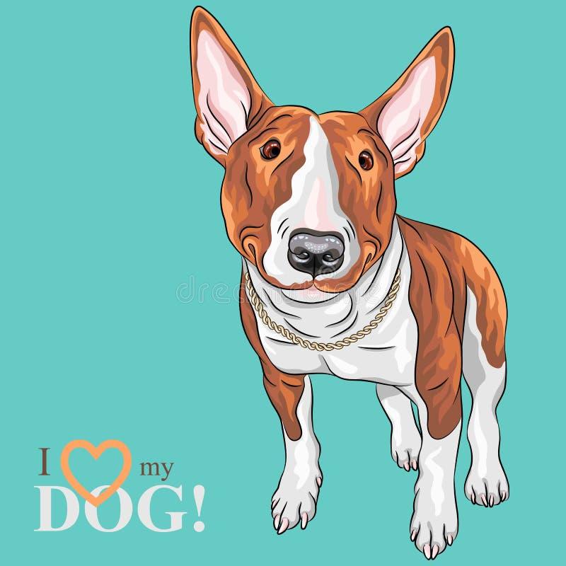 Wektorowy uśmiechnięty kreskówki Bull Terrier psa traken ilustracji