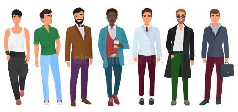 Wektorowy ufny moda mężczyzna w przypadkowych ubraniach odizolowywających na białym tle Młodzi nowożytni faceci ilustracja wektor