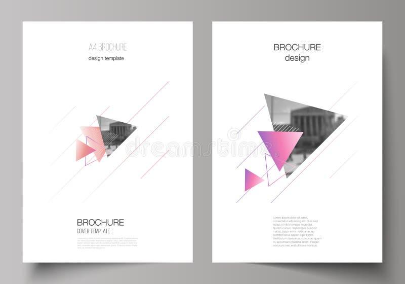 Wektorowy układ A4 formata nowożytni okładkowi mockups projektuje szablony dla broszurki, magazyn, ulotka, broszura, rocznik ilustracji