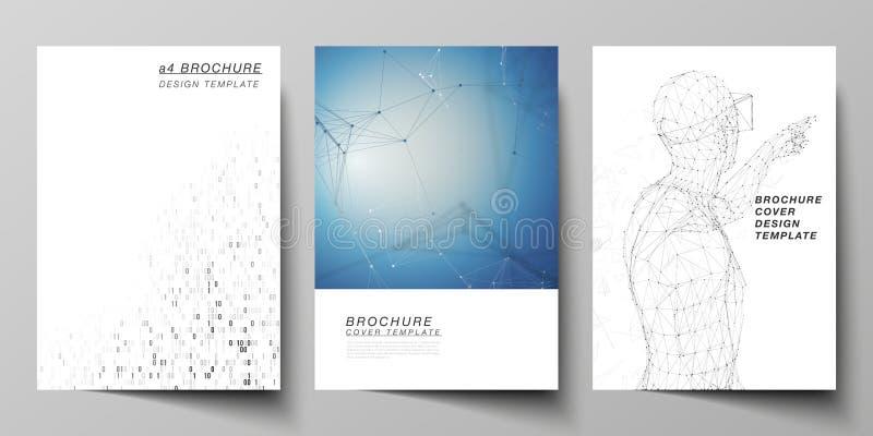 Wektorowy układ A4 formata nowożytni okładkowi mockups projektuje szablony dla broszurki, magazyn, ulotka, broszura, sprawozdanie royalty ilustracja