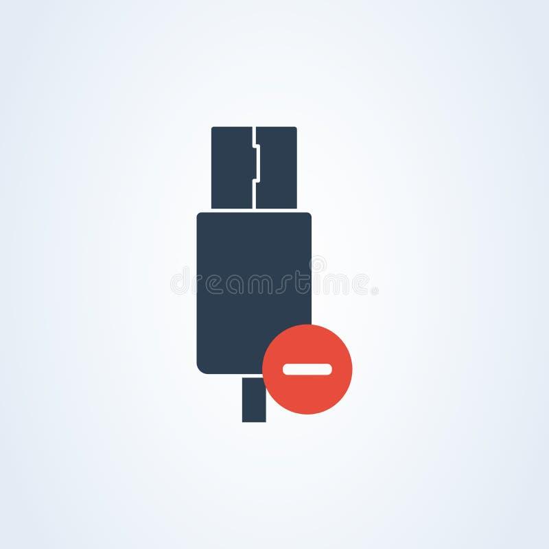 Wektorowy usb typ i Usb ikona deleatur Usb błyskowy kabel ostrzegawcza informacja royalty ilustracja