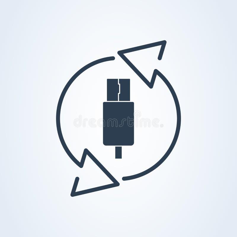 Wektorowy usb typ i Usb ikona Kółkowa ilustracja przegląd ikona royalty ilustracja
