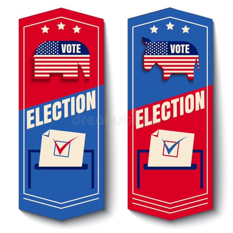 Wektorowy ustalony sztandar dla głosowania ilustracji