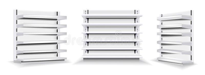 Wektorowy ustawiający bielu pokazu pusta pionowo skrzynka Handli stojaków sklepu stojaki z półkami ilustracji