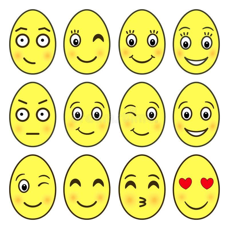 Wektorowy ustawiający emoji w formie Wielkanocnych jajek EPS 10 ilustracji