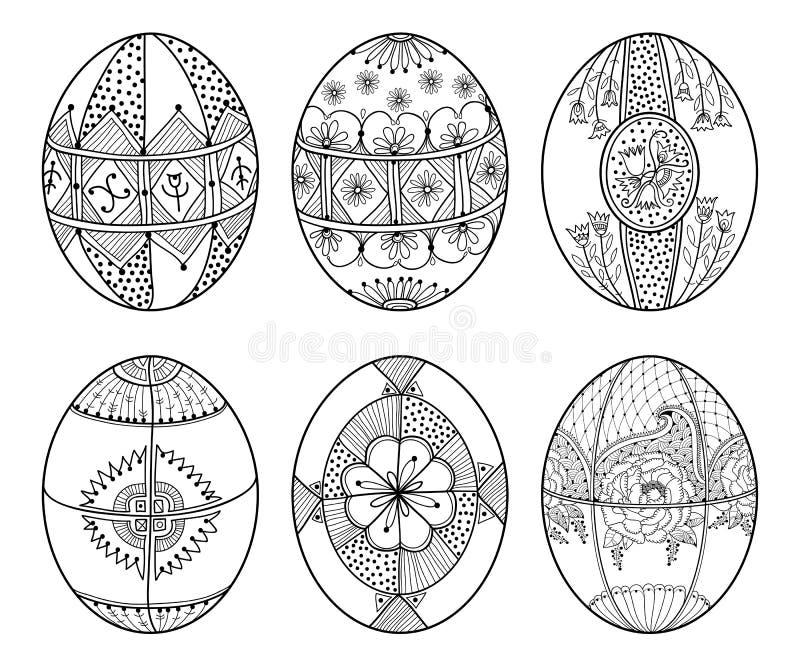 Wektorowy ustawiający konturu etniczny Ukraiński Wielkanocny jajko Pysanka w czerni odizolowywającym na białym tle Tradycyjny Chr royalty ilustracja
