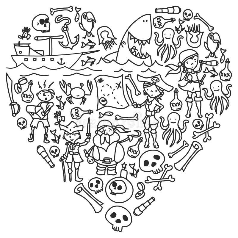 Wektorowy ustawiający piratów dzieci rysunków ikony w doodle stylu Malujący, czarny monochrom, obrazki na kawałek papieru royalty ilustracja