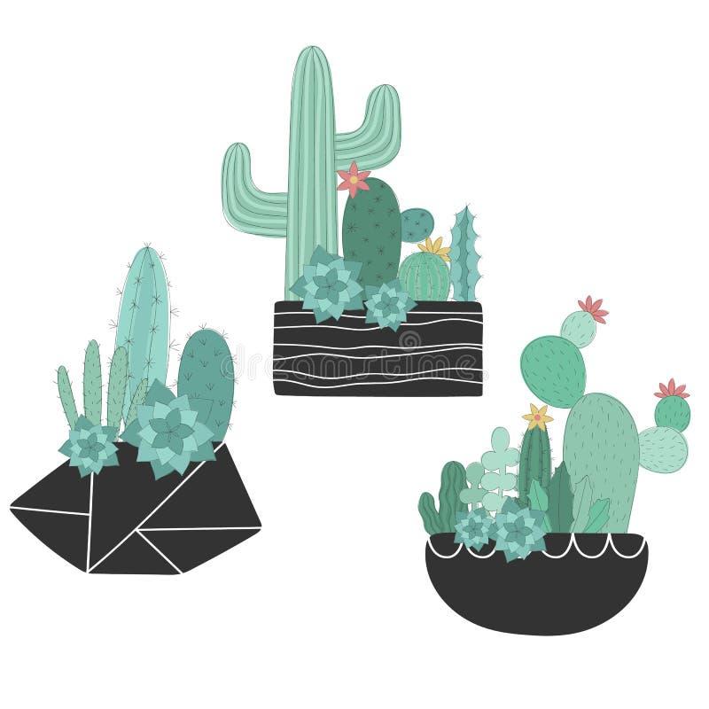 Wektorowy ustawiający scandinavian kaktusy w garnkach Pociągany ręcznie lato ilustracja kaktus dla wystroju, pepiniera, karta, cu ilustracja wektor