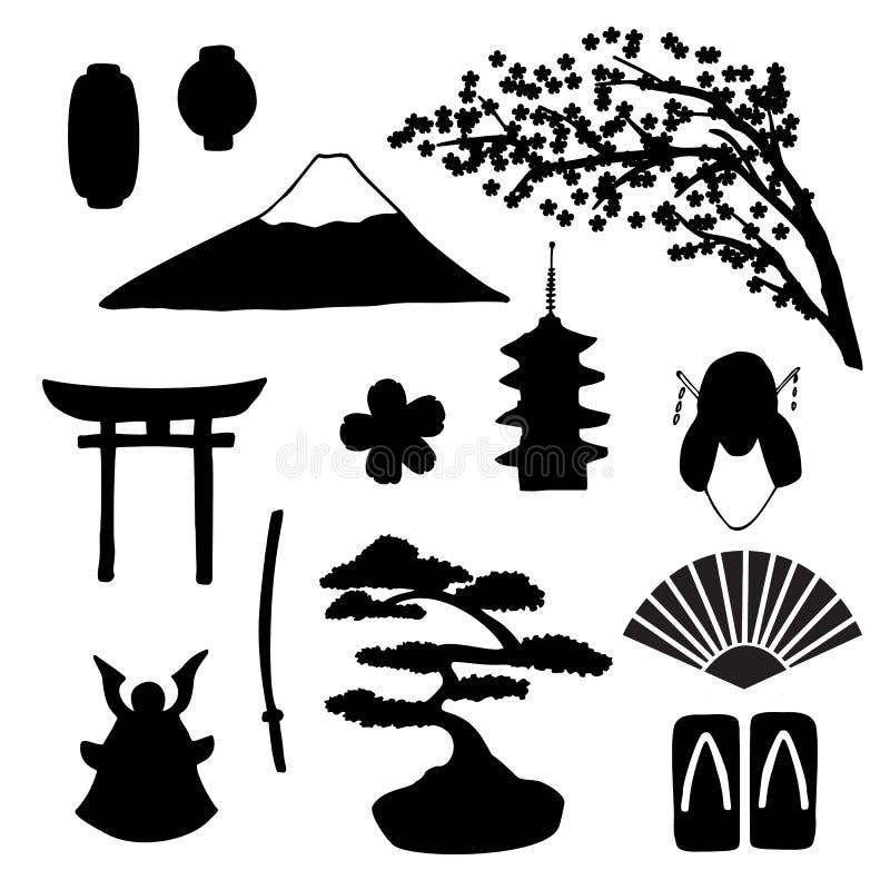 Wektorowy ustawiający tradycyjne japońskie simbols sylwetki royalty ilustracja