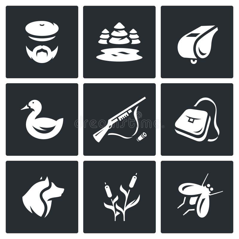 Wektorowy Ustawiający Łowieckie ikony Myśliwy, natura, gwizd, kaczka, karabin, torba, pies, trzcina, komar royalty ilustracja