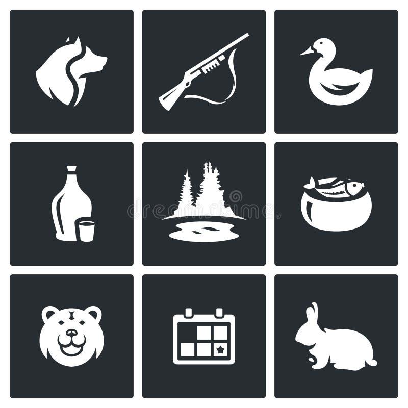 Wektorowy Ustawiający Łowieckie ikony Pies, pistolet, kaczka, alkohol, jezioro, ucho, niedźwiedź, sezon, królik ilustracja wektor