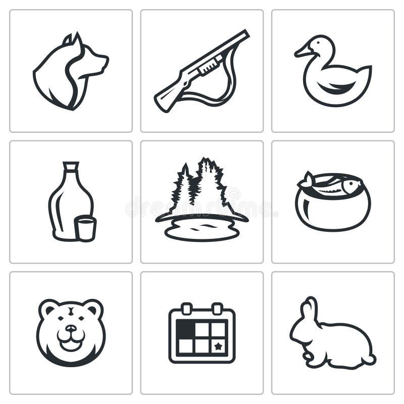 Wektorowy Ustawiający Łowieckie ikony Pies, pistolet, kaczka, alkohol, jezioro, ucho, niedźwiedź, sezon, królik royalty ilustracja