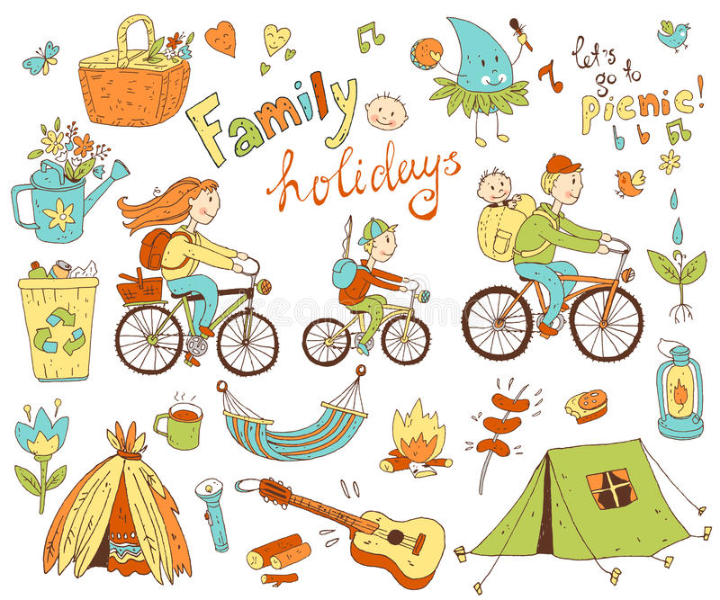 Wektorowy ustawiający śliczna doodle rodzina, wakacje i Wyposażenie dla krzywka royalty ilustracja