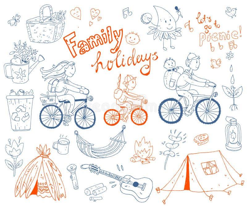 Wektorowy ustawiający śliczna doodle rodzina, wakacje i Wyposażenie dla krzywka ilustracji