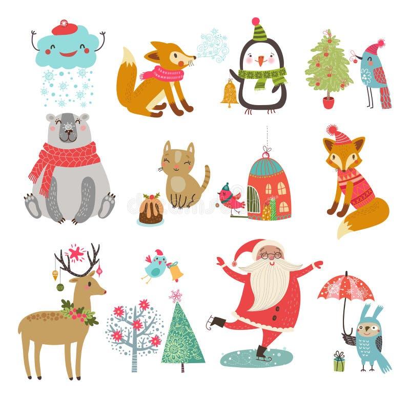 Wektorowy ustawiający śliczni charaktery Nowy rok zimy Bożenarodzeniowy set ilustracji