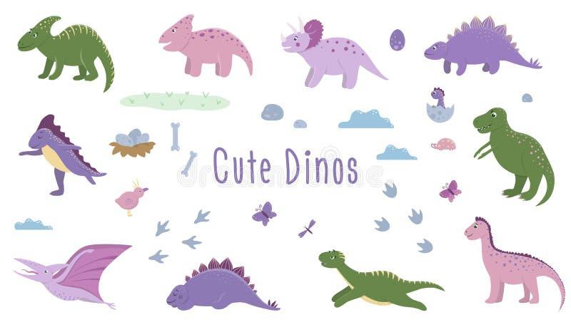 Wektorowy ustawiający śliczni dinosaury z chmurami, jajka, kości, ptaki dla dzieci ilustracji