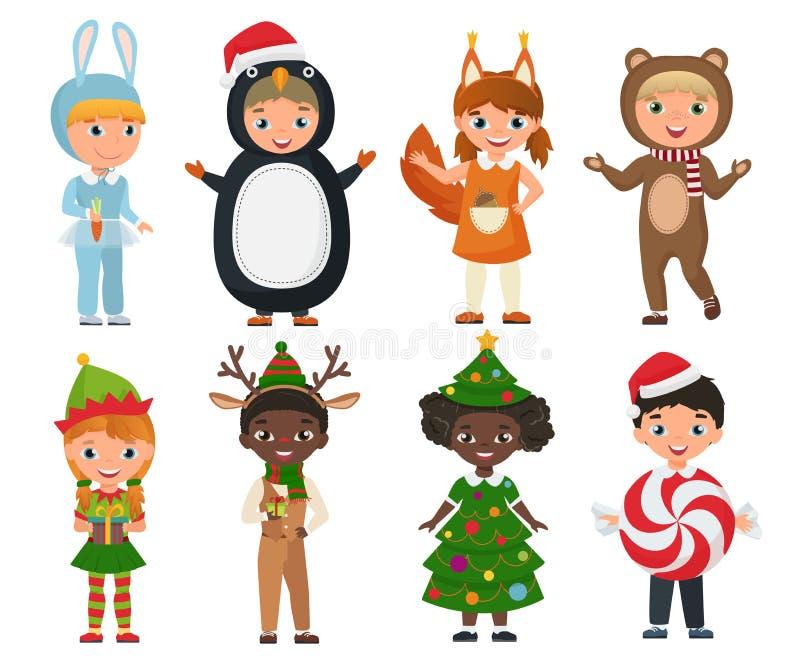 Wektorowy Ustawiający śliczni dzieciaki jest ubranym boże narodzenie odzieżowych kostiumy ilustracji