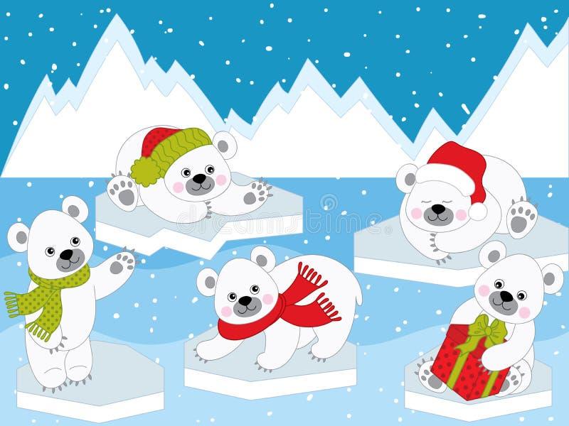 Wektorowy Ustawiający Śliczni kreskówek bożych narodzeń niedźwiedzie polarni ilustracji
