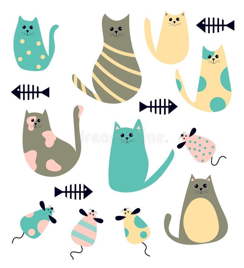 Wektorowy ustawiający śliczni kreskówka koty, myszy i ilustracji