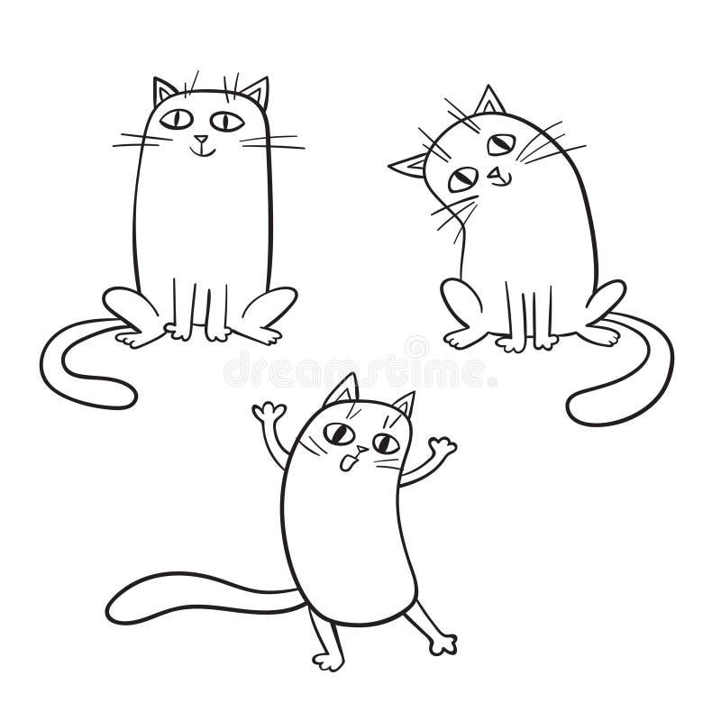 Wektorowy ustawiający śliczni kreskówka koty w różnorodnych pozach royalty ilustracja