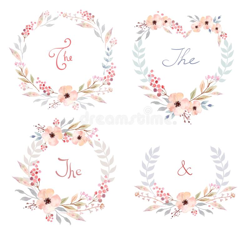 Wektorowy Ustawiający śliczni retro kwiaty układał un kształt wianek perfect dla ślubnych zaproszeń i urodzinowych kart royalty ilustracja