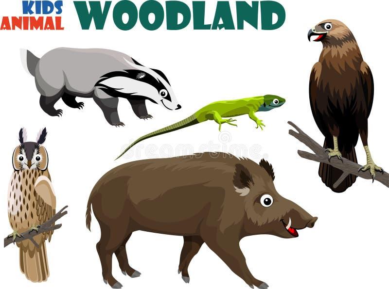 Wektorowy ustawiający śliczny las żartuje zwierzęta ilustracja wektor