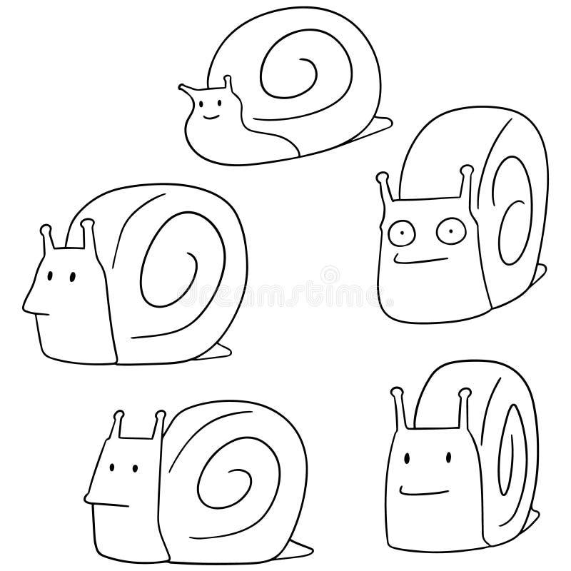 Wektorowy ustawiający ślimaczek royalty ilustracja