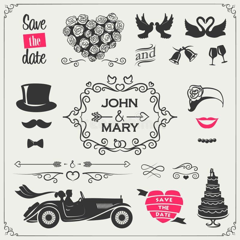 Wektorowy ustawiający ślubne ikony i elementy dla zaproszeń, sztandarów i znaków: strzała, serca, wianki, faborki, etykietki royalty ilustracja