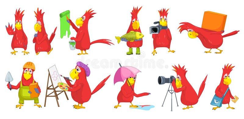 Wektorowy ustawiający śmieszne papug ilustracje royalty ilustracja