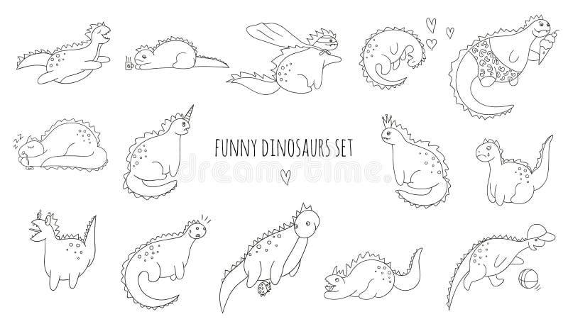 Wektorowy ustawiający śmieszni czarny i biały dinosaury w różnych pozach ilustracji