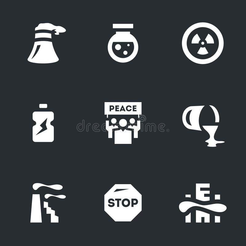 Wektorowy Ustawiający środowiska zanieczyszczenia ikony ilustracja wektor