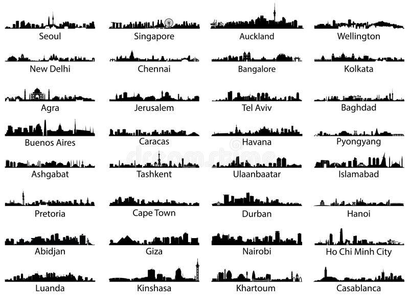 Wektorowy ustawiający światowe miasto linie horyzontu royalty ilustracja