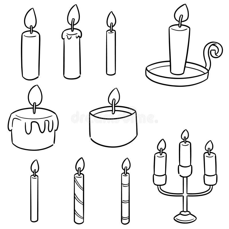 Wektorowy ustawiający świeczka ilustracji