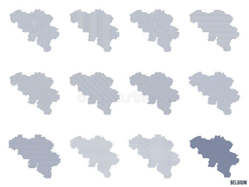 Wektorowy ustawiający abstrakcjonistyczne mapy Belgia w różnych stylach royalty ilustracja