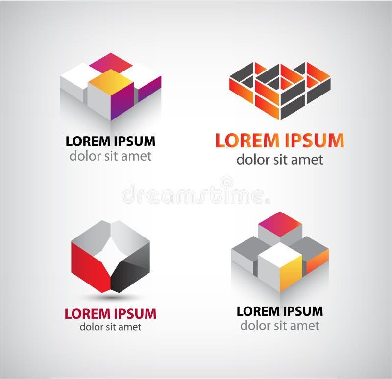 Wektorowy ustawiający abstrakcjonistyczni geometryczni logowie, 3d struktura, bloki royalty ilustracja