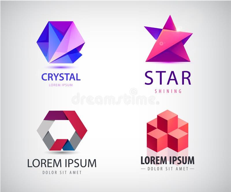 Wektorowy ustawiający abstrakcjonistyczni origami logo Gra główna rolę, sześcian struktura, budowa, sześciokąt royalty ilustracja
