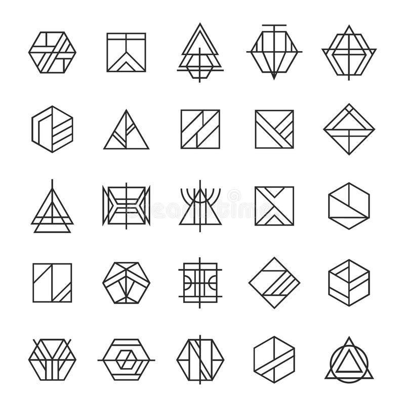 Wektorowy ustawiający abstrakcjonistyczny liniowy modniś, plemienni logowie Geometryczne ikony, tożsamość, znaczki, podpisują ilustracji