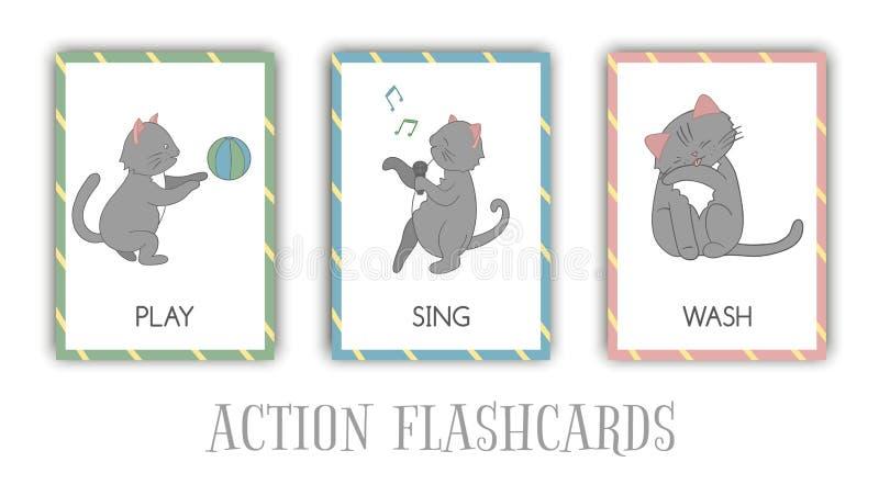 Wektorowy ustawiający akcji błyskowe karty z kotem ilustracja wektor