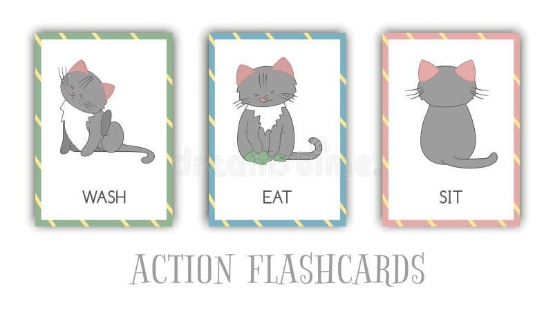 Wektorowy ustawiający akcji błyskowe karty z kotem ilustracji