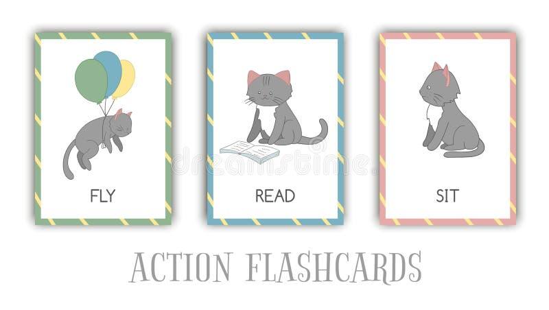 Wektorowy ustawiający akcji błyskowe karty z kotem royalty ilustracja