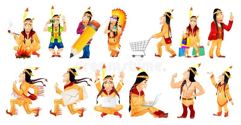 Wektorowy ustawiający amerykańskie hindus ilustracje ilustracji