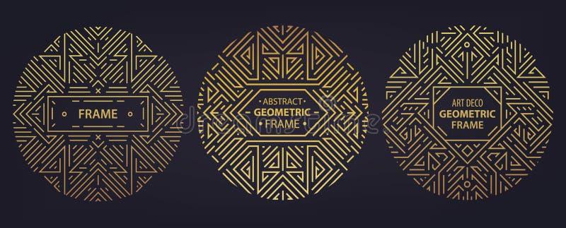 Wektorowy ustawiający art deco ramy, krawędzie, abstrakcjonistyczni geometrycznego projekta szablony dla luksusowych produktów Li ilustracji