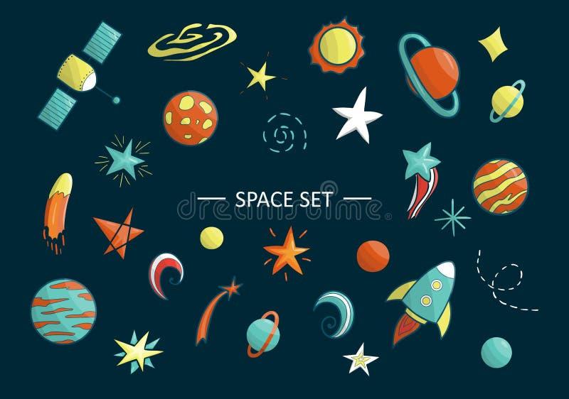 Wektorowy ustawiający astronautyczni przedmioty royalty ilustracja