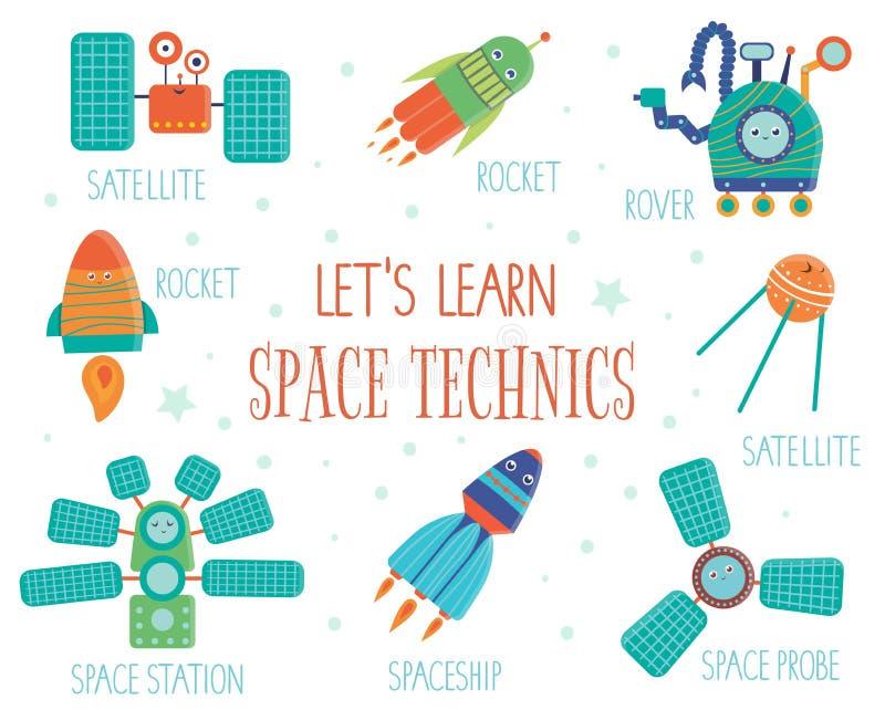 Wektorowy ustawiający astronautyczni technics dla dzieci ilustracji