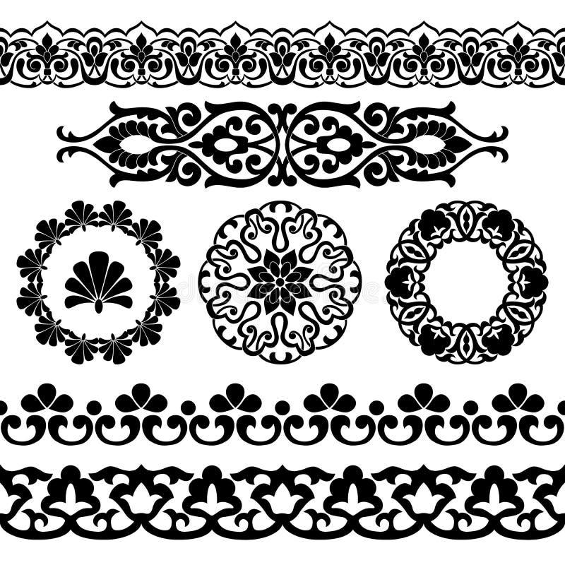 Wektorowy ustawiający Azjatyccy bezszwowi taśmy, round i pojedynczych wzory, w postaci bawełny w uzbeka obywatelu projektuje Czar royalty ilustracja