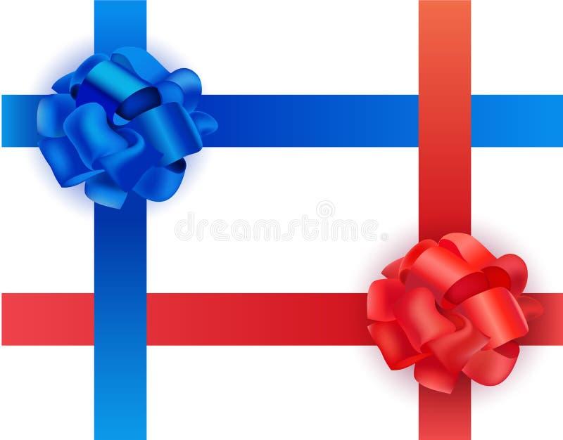 Wektorowy ustawiający błyszczący błękitni i czerwoni atłas faborki crosswise ono kłania się na białym tle realistyczna ballons il royalty ilustracja